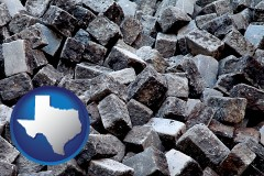 texas map icon and paving cobblestones